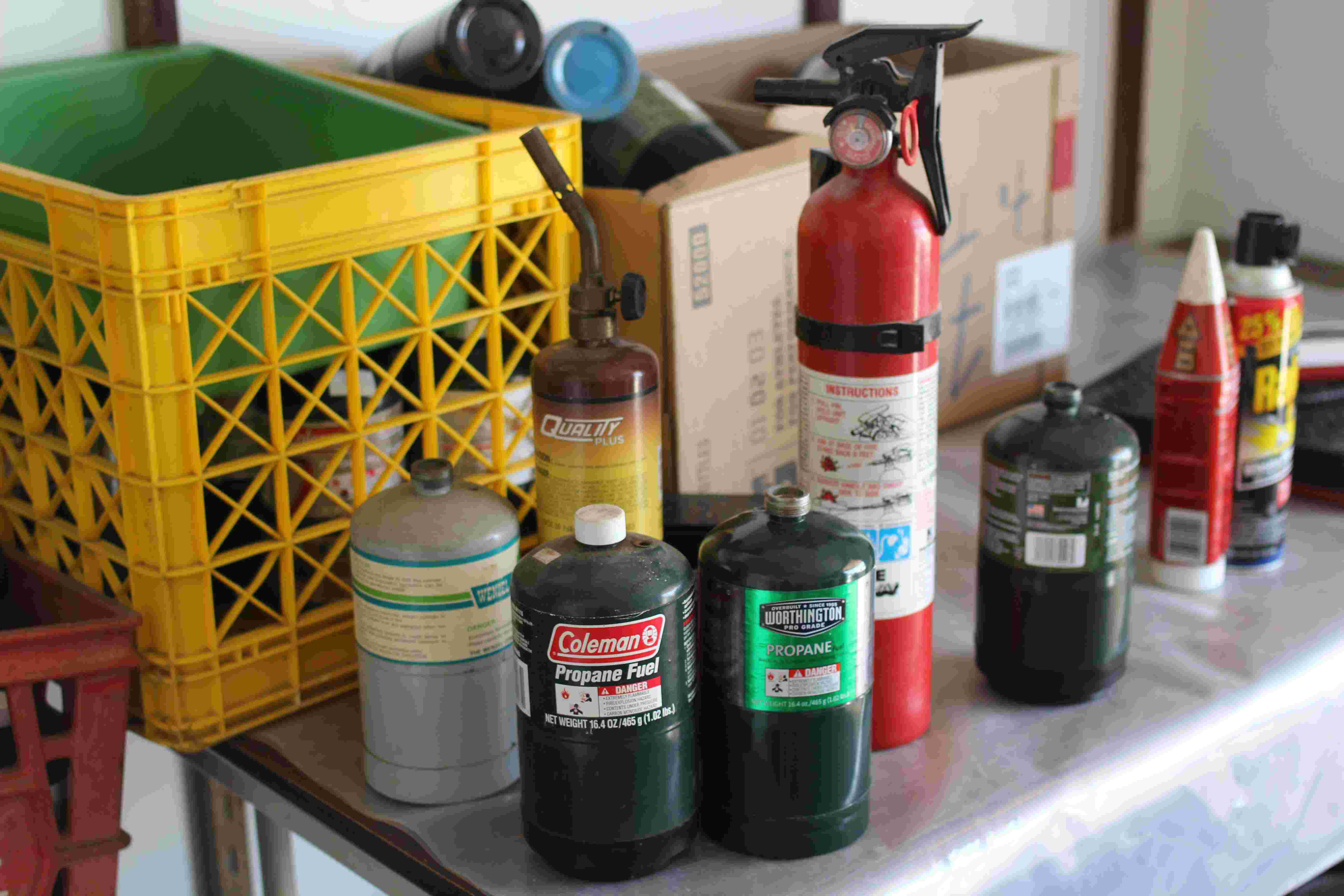 fire extinguishers and propane bottles
